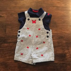 STRIPED 2 PIECE OVERALL OUTFIT, BOYS, 6 MONTHS